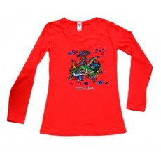 Women's Red Long Sleeve (L/S) Round Neck Top Red Building
