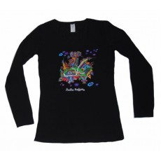 Women's  Long Sleeve Top Black Building